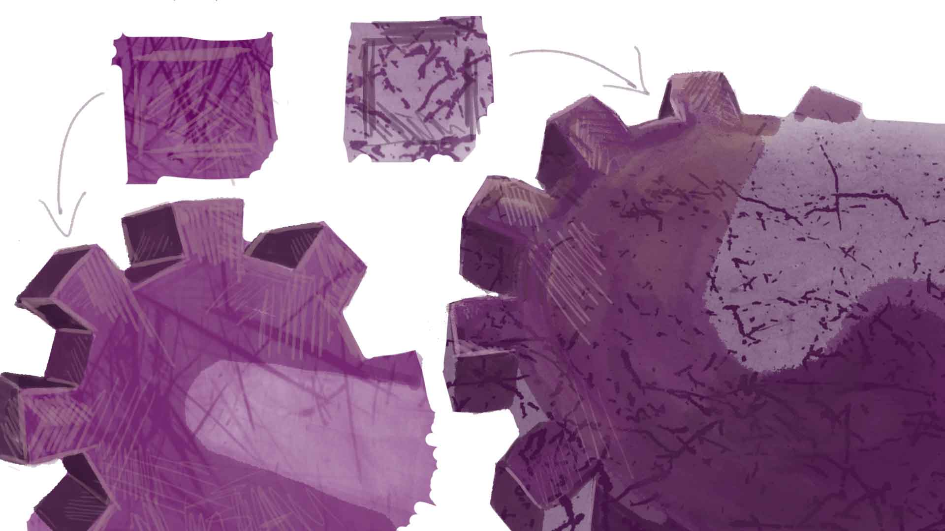 Metal scratchy texturing on drawing of purple cogs