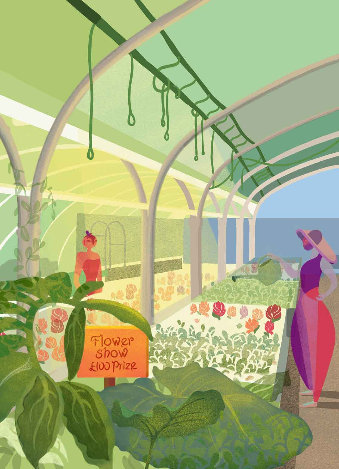 Illustration of woman holding watering can in greenhouse
