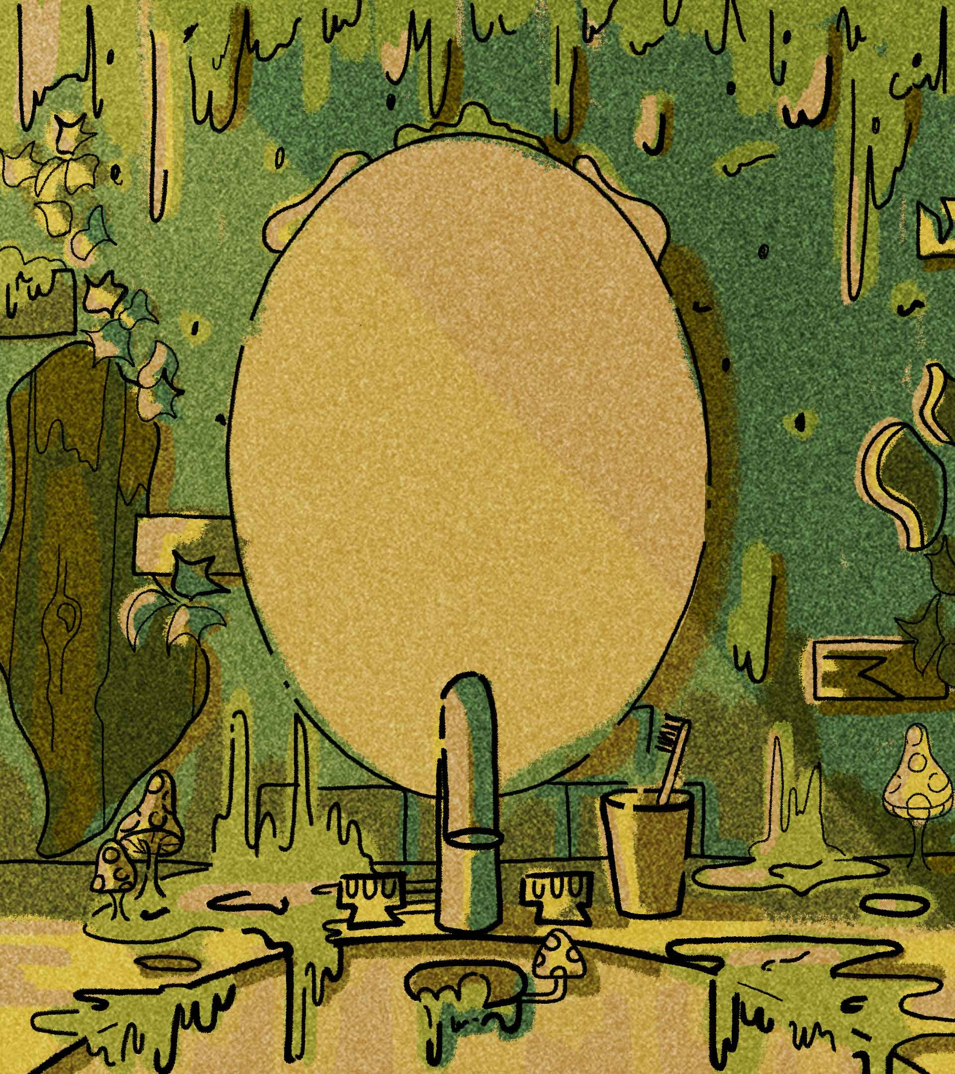 Illustration of mouldy green bathroom sink and mirror