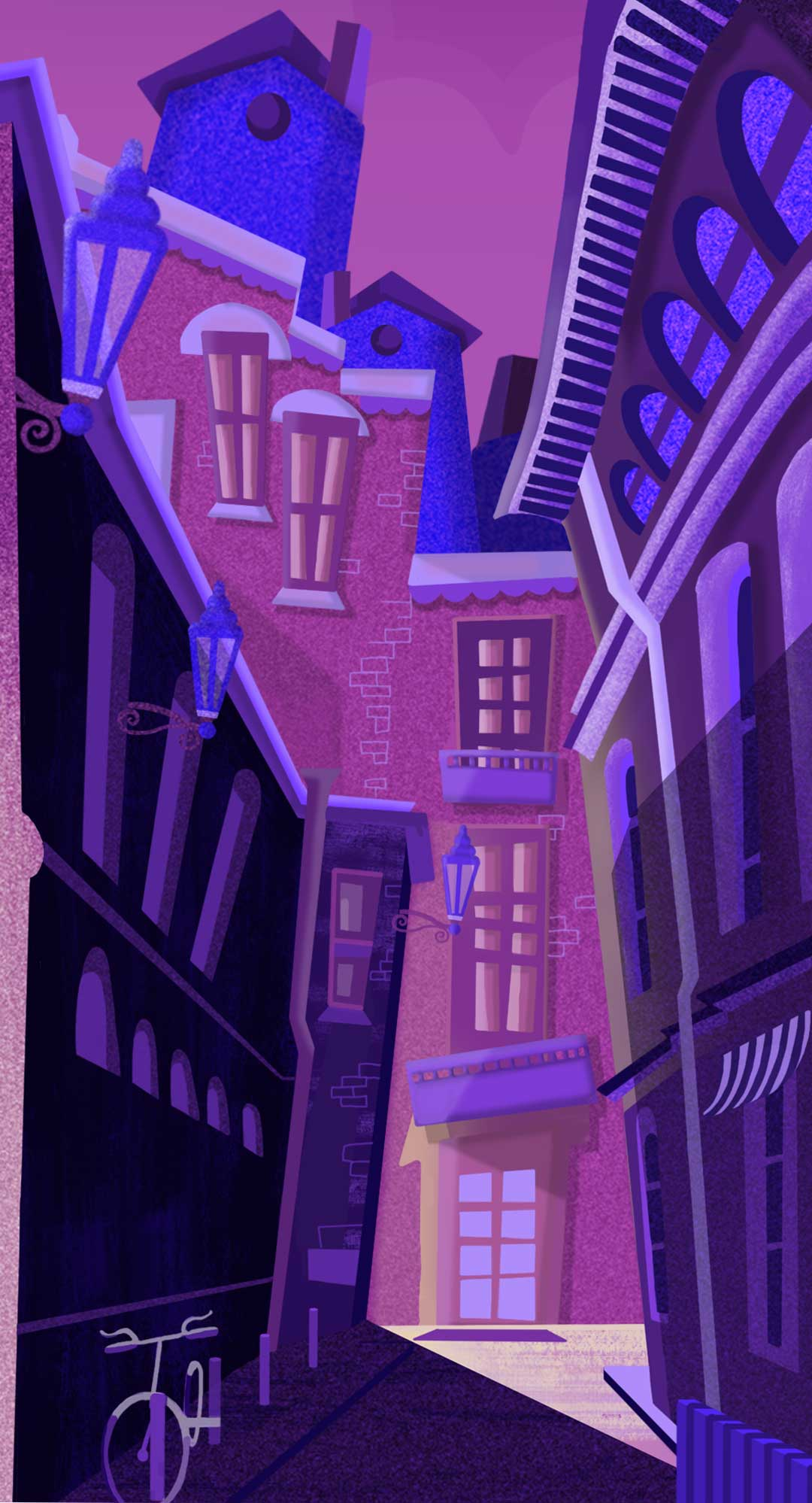 portrait illustration of a street at night with purple lighting