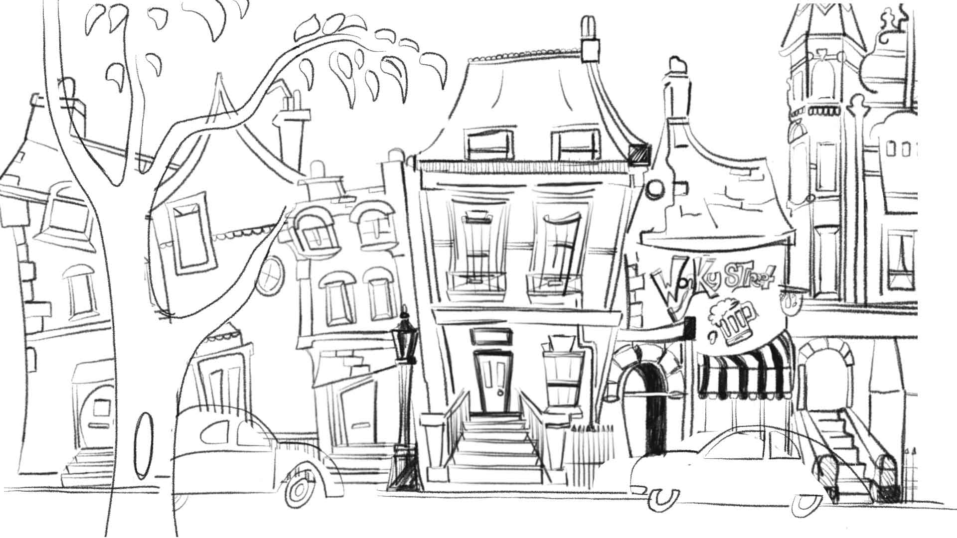 Rough sketch of wonky street scene with tree infront