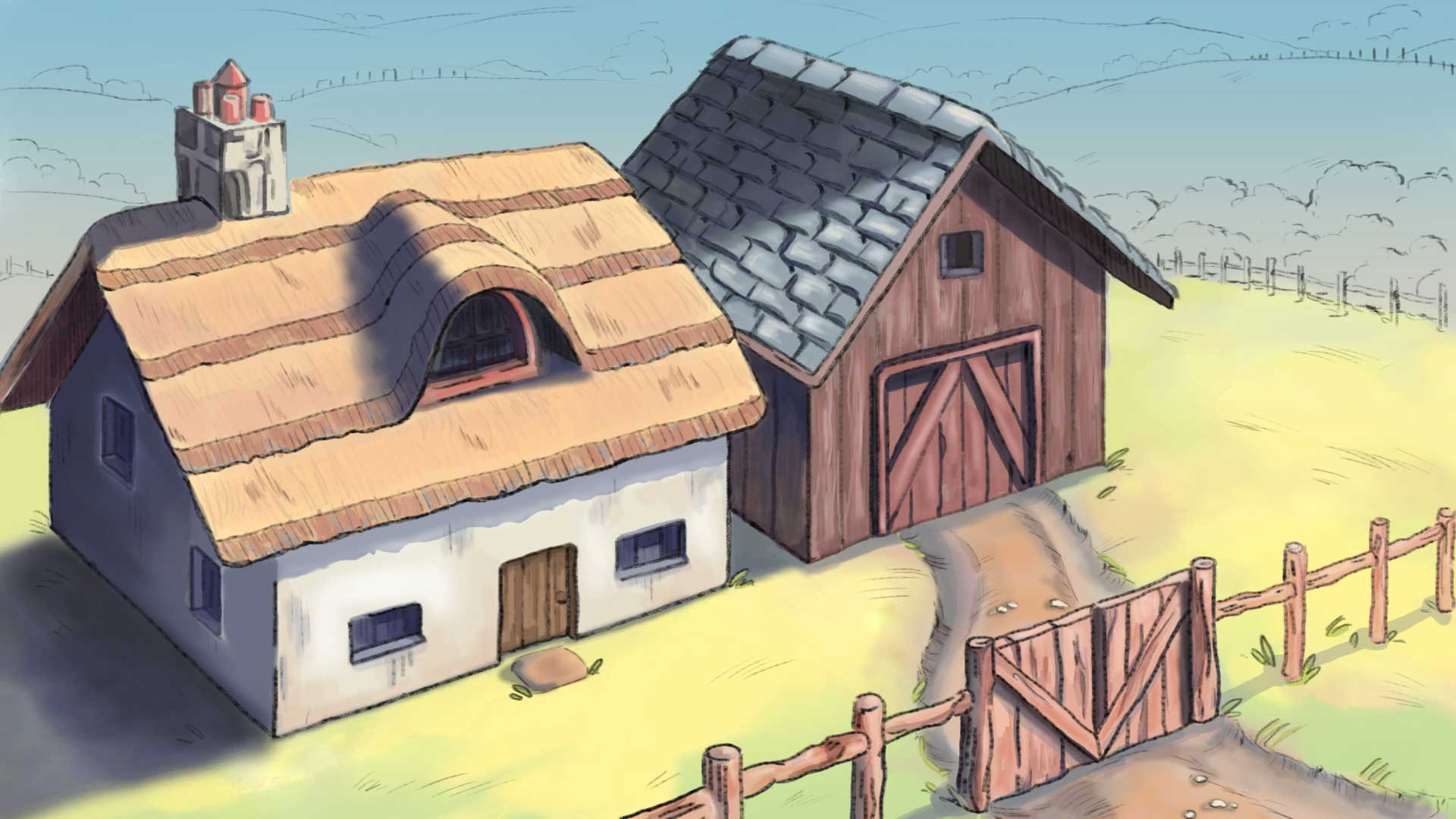illustration of farm house and barn