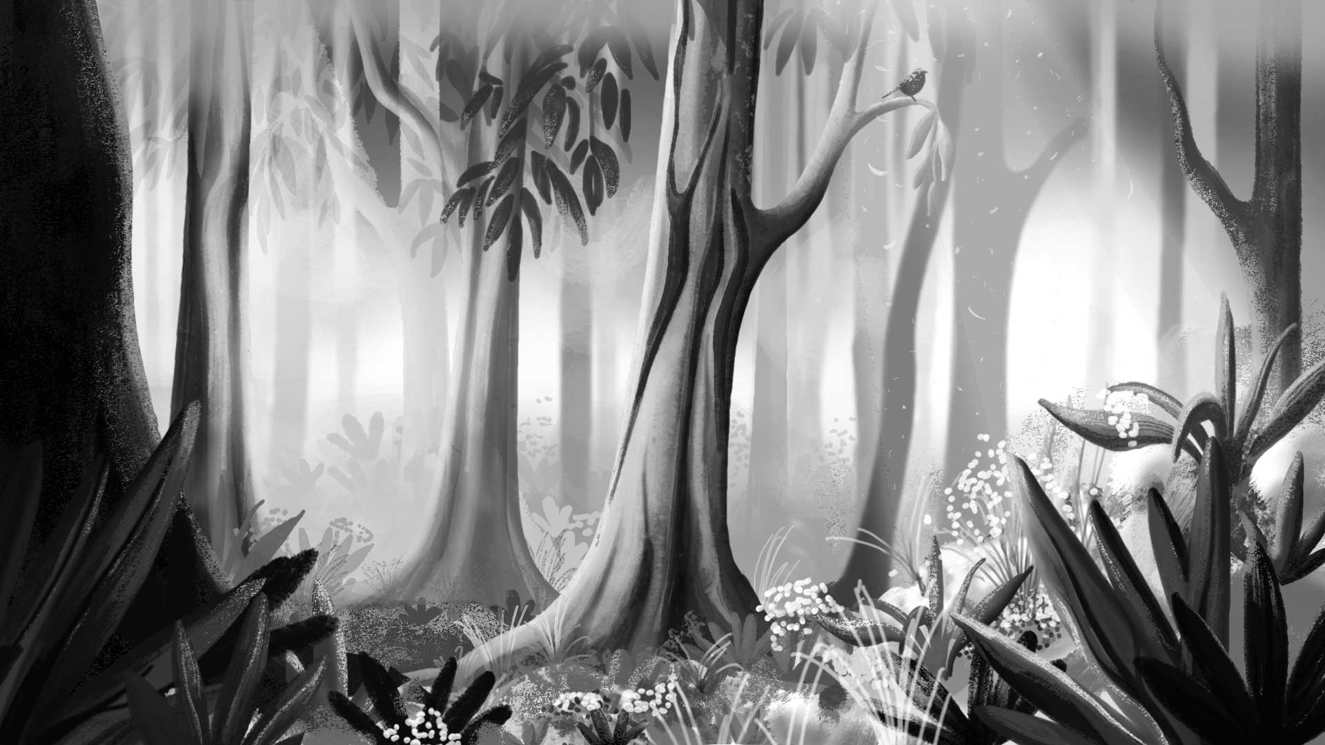 Illustration of a wooded forest in black and white