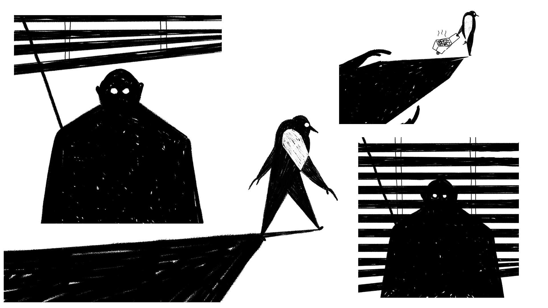 Story board of swamp man walking town