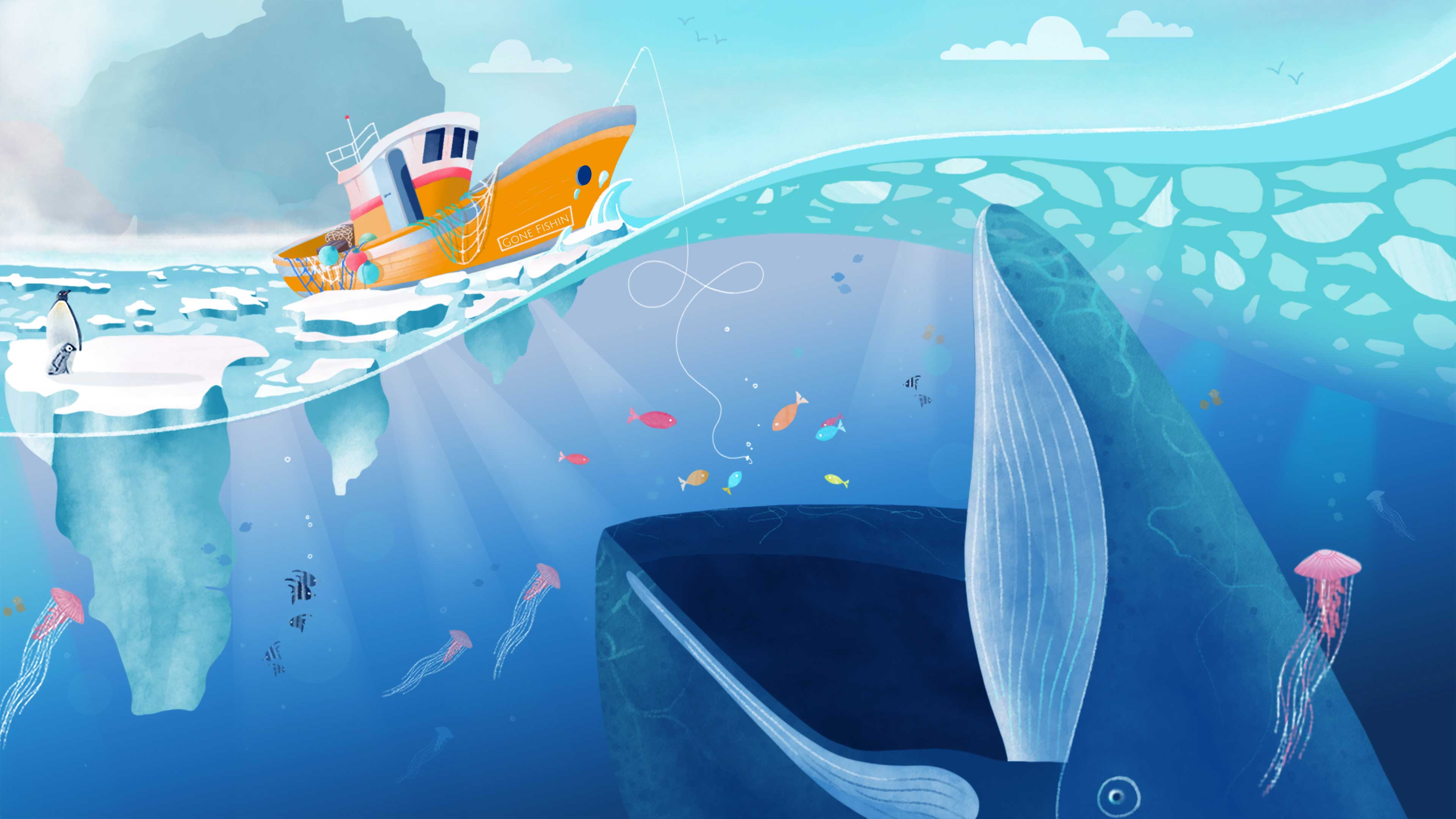 Under the sea colour illustration with fishing boat