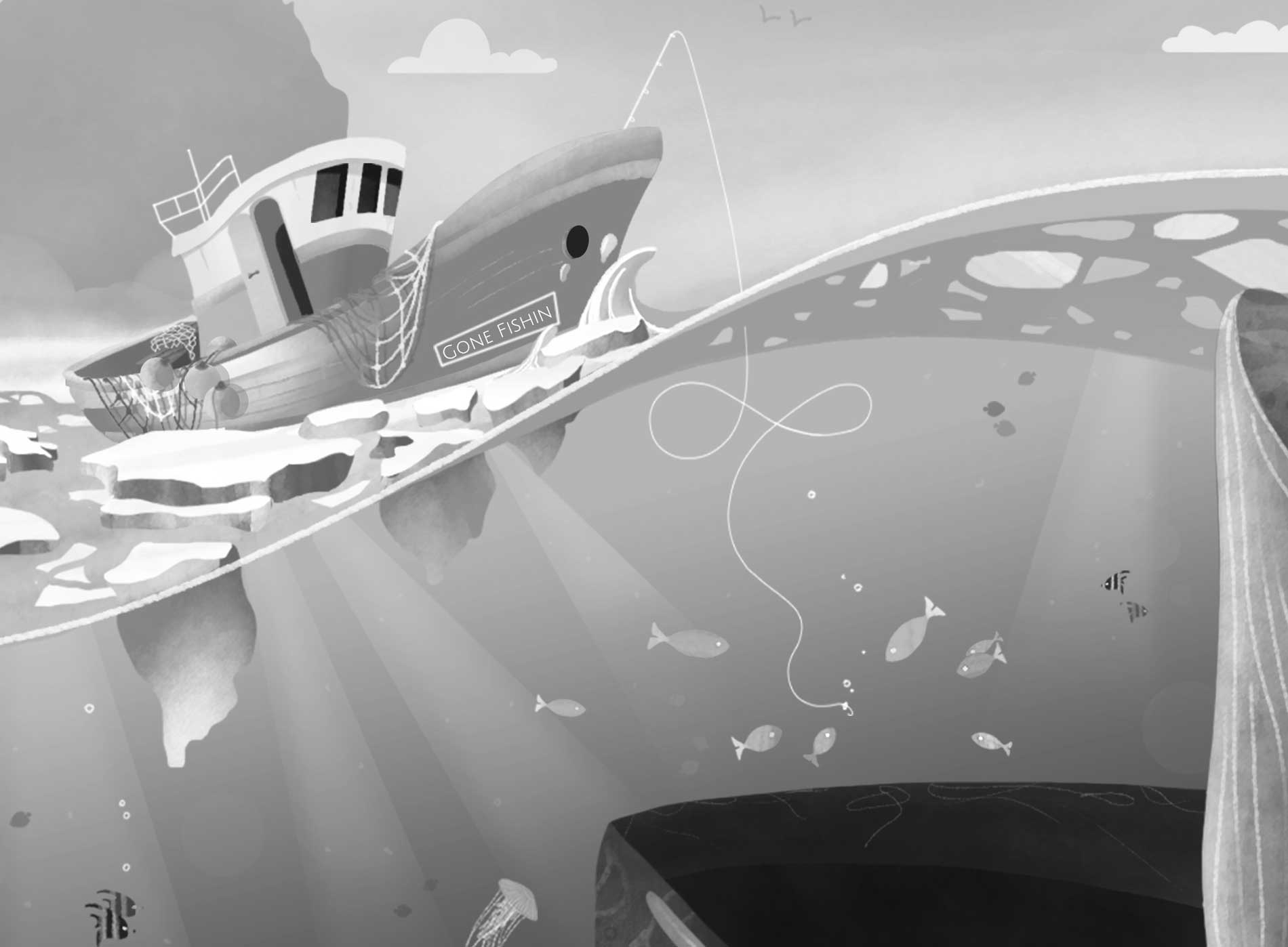 Black and white illustration of a boat and sea creatures
