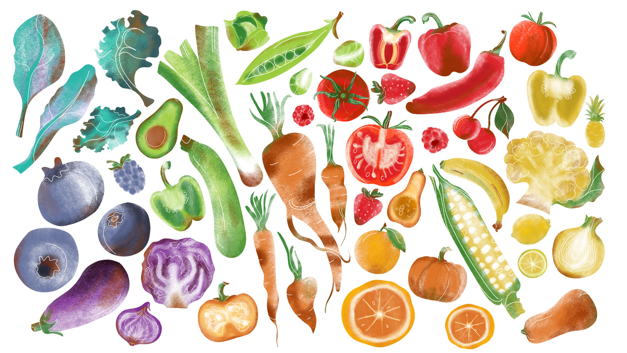 Illustration worksheet of fruit and veg